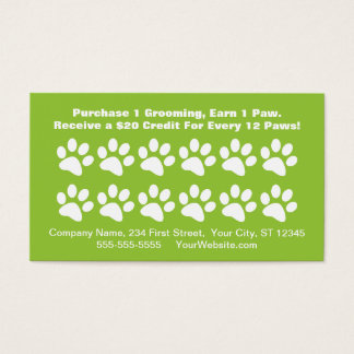 Dog Grooming Customer Reward Card - Loyalty Card