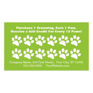 Dog Grooming Customer Reward Card - Loyalty Card Pack Of Standard Business Cards
