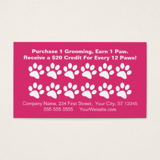 Dog Grooming Customer Rewards Card - Loyalty Card