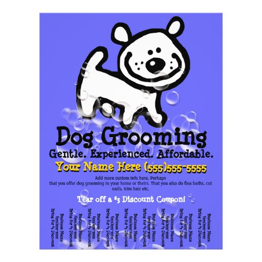 Dog Grooming. Customizable Promotional Tear sheet Personalized Flyer
