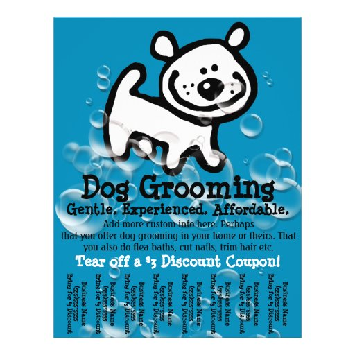 Dog Grooming. Customizable Promotional Tear sheet Flyers