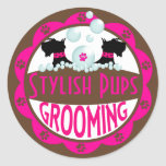 Dog Grooming Logo Customize with Your Name Stickers