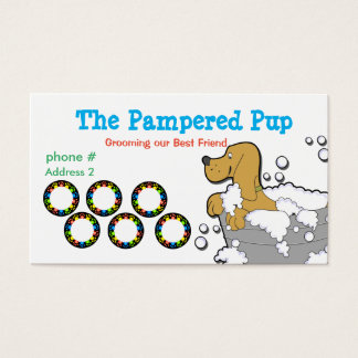 Dog Grooming Loyalty Punch Card Business Cards