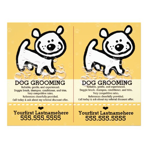 Dog Grooming.Pet Groomer.2 for 1.Customizable. Full Color Flyer
