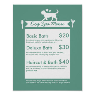 Dog Grooming Spa Menu - Personalizable Poster