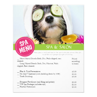 Dog Grooming Spa Services Menu 11.5 Cm X 14 Cm Flyer