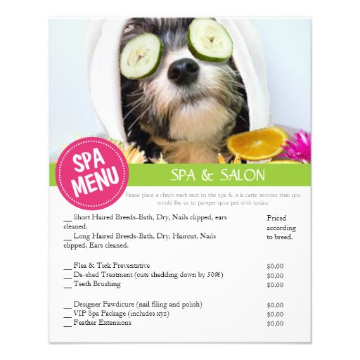Dog Grooming Spa Services Menu Full Color Flyer