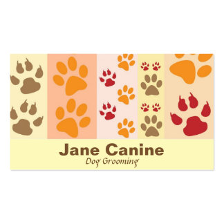 Dog Grooming stylish modern paw print Double-Sided Standard Business Cards (Pack Of 100)