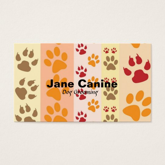 Dog Grooming stylish modern paw print Business Card
