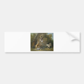 Dog Guarding Dead Game by Jean-Baptiste Oudry Bumper Sticker