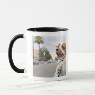 Dog hanging head out of car window mug