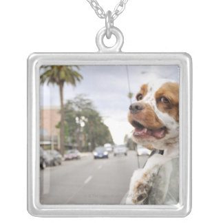 Dog hanging head out of car window silver plated necklace