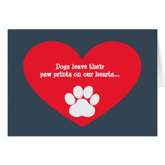 Dog Heart and Pawprint Sympathy Card