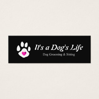 Dog Heart Paw Pet Sitting and Grooming Mini Business Card