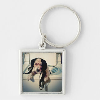 Dog helping out with the wash Silver-Colored square key ring