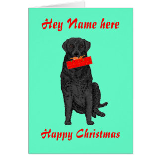 Dog Holding Christmas Present add name front Greeting Card