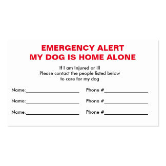 Dog Home Alone Emergency Contact Card Pack Of Standard Business Cards