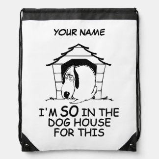 DOG HOUSE custom daypack Drawstring Bag