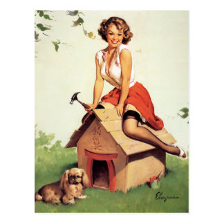 Dog House Pin Up Postcard
