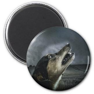 Dog howling at storm refrigerator magnet
