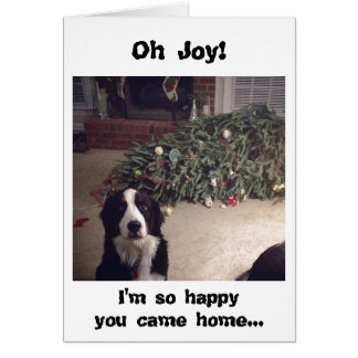 Dog humor Christmas tree card