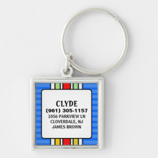 Dog ID Tag - Blue Vertical Stripes Square Silver-Colored Square Key Ring