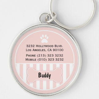 Dog ID Tag Pink Bone Silver-Colored Round Key Ring