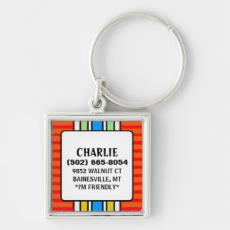 Dog ID Tag - Red with Vertical Stripes - Square Keychains