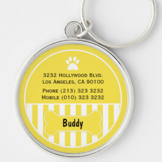 Dog ID Tag Yellow Keychain