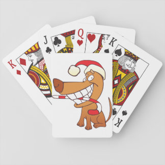 Dog In A Santa Hat Playing Cards
