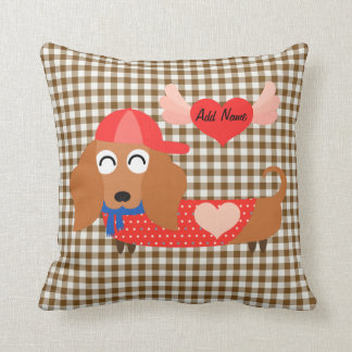 Dog in Baseball Cap Brown Gingham Valentine Pillow