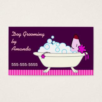 Dog in Bathtub - Pet Groomer Business Card