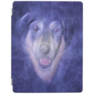 Dog in blue smoke iPad cover