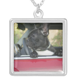 Dog in car silver plated necklace