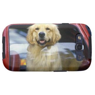 Dog in red car window samsung galaxy SIII cases