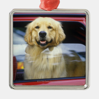 Dog in red car window Silver-Colored square decoration