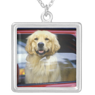 Dog in red car window silver plated necklace