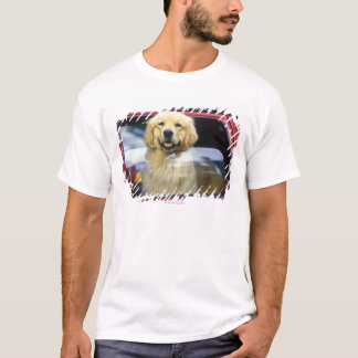 Dog in red car window T-Shirt