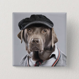 Dog in sweater and cap 15 cm square badge