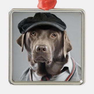 Dog in sweater and cap christmas ornament