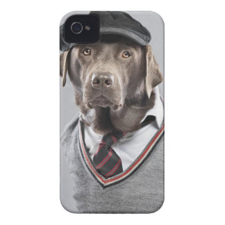Dog in sweater and cap iPhone 4 cover