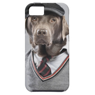 Dog in sweater and cap iPhone 5 cover