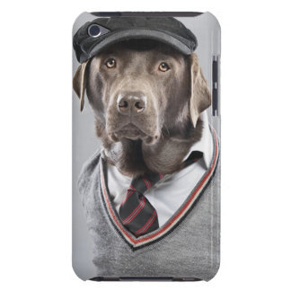 Dog in sweater and cap iPod touch case