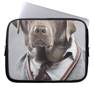 Dog in sweater and cap laptop sleeve
