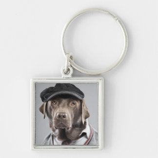 Dog in sweater and cap Silver-Colored square key ring