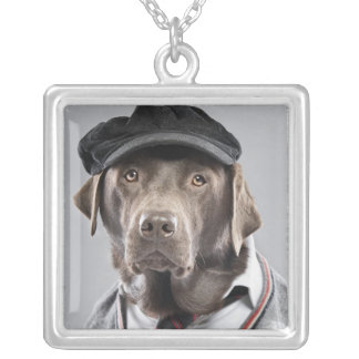 Dog in sweater and cap silver plated necklace