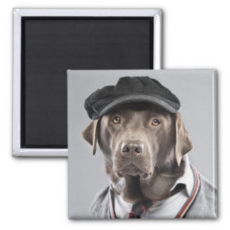 Dog in sweater and cap square magnet