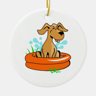 DOG IN SWIMMING POOL ROUND CERAMIC DECORATION