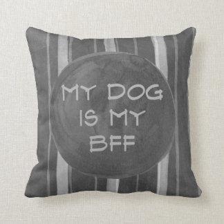 Dog Is My BFF Gray Stripe Throw Pillow