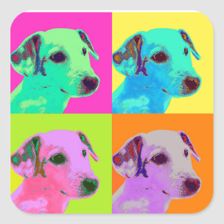Dog, Jack Russell Terrier. Popart, Warhol - animal Square Sticker